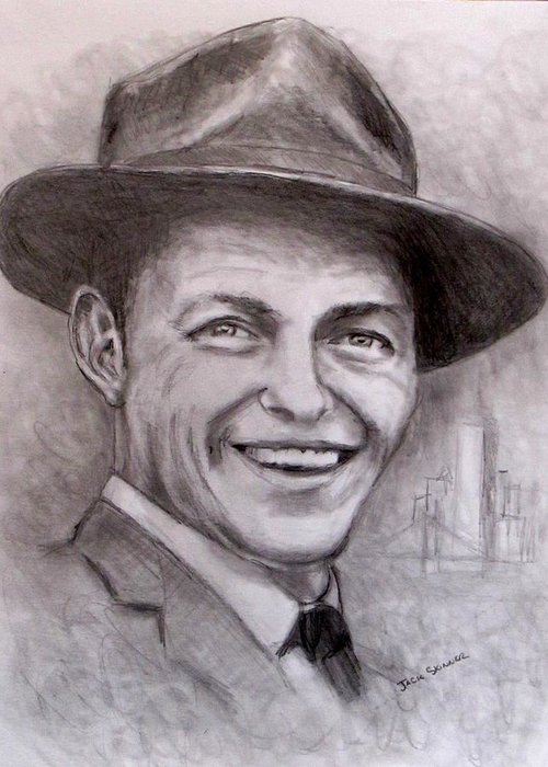 Frank Sinatra Greeting Card featuring the drawing Frank by Jack Skinner