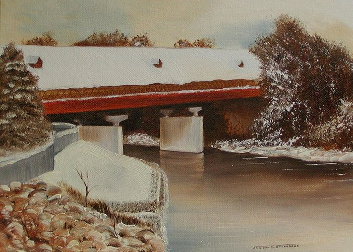 Original Oil Winter Landscape Greeting Card featuring the painting Frankenmuth Michigan by Sharon Steinhaus