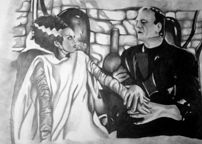 Frankenstein Greeting Card featuring the drawing Frankenstein And His Bride by Pauline Murphy