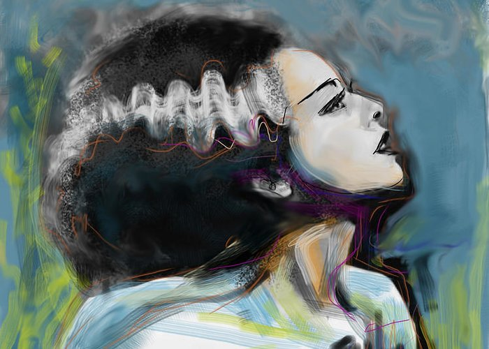 Bride Of Frankenstein Greeting Card featuring the mixed media Frankie's Bride by Russell Pierce