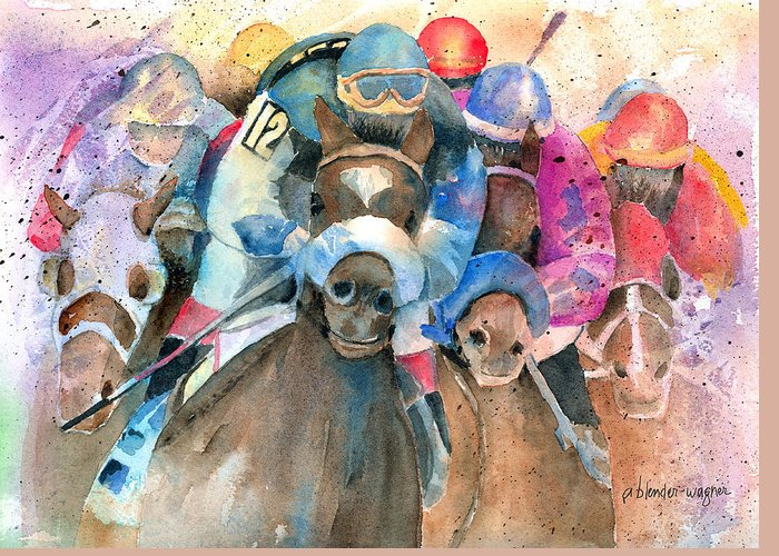 Horse Greeting Card featuring the painting Frantic Finish by Arline Wagner