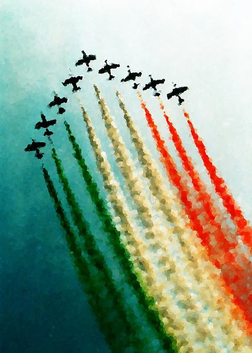 Tricoloured Greeting Card featuring the photograph Frecce Tricolori by Andrea Barbieri
