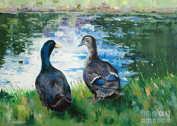 Ducks Greeting Card featuring the painting Fred And Ethel At Scott's Pond by Glenn Secrest