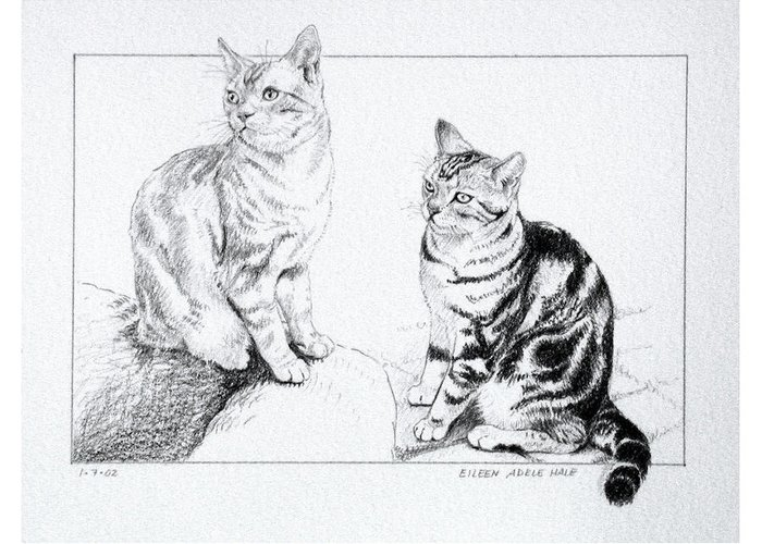 Portrait Greeting Card featuring the drawing Fred And Ginger by Eileen Hale