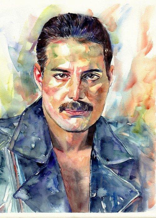 Freddie Greeting Card featuring the painting Freddie Mercury Portrait by Suzann Sines