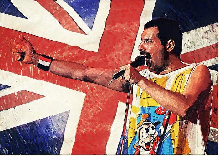 Queen Greeting Card featuring the digital art Freddie Mercury by Zapista Zapista