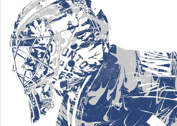 Frederik Andersen Toronto Maple Leafs Pixel Art 3 Greeting Card For Sale By Joe Hamilton