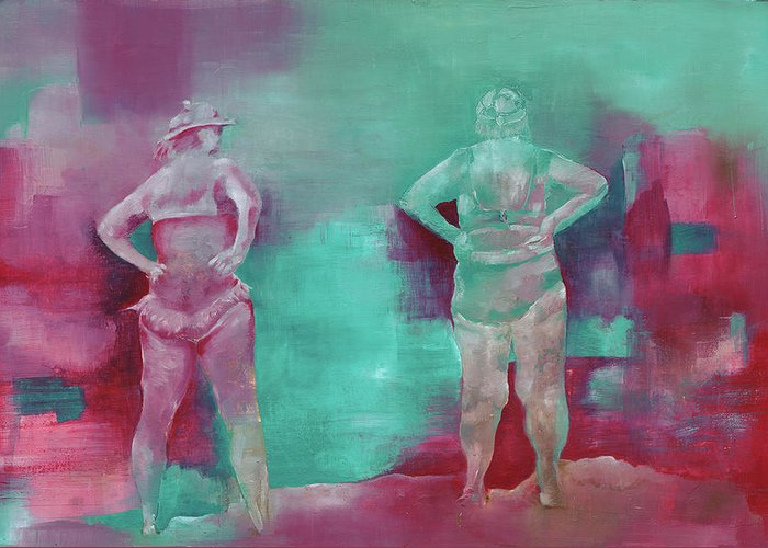 Women Greeting Card featuring the painting Free At Last - Free With Lust by Sigalit Aharoni
