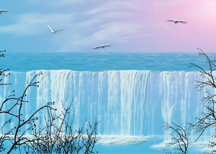 Waterfall Greeting Card featuring the photograph Free Falling by Evelyn Patrick