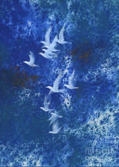 A Flight Of Doves Flying In Blue Sky. This Is A Contemporary Chinese Ink And Color On Rice Paper Painting With Simple Zen Style Brush Strokes.  Greeting Card featuring the painting Free by Mui-Joo Wee