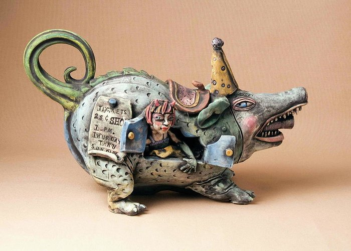 Pottery Teapot Animal Clay Fun Ceramic Greeting Card featuring the ceramic art Free Ride by Kathleen Raven