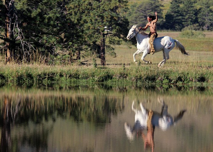 Native American Greeting Card featuring the photograph Free Ride by Samantha Burrow