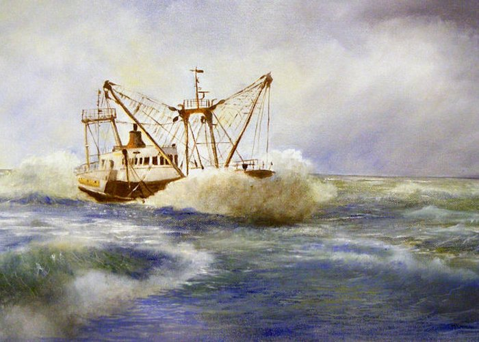 Fishingboad Greeting Card featuring the painting Free Spirit Of The Sea by Frances Brice