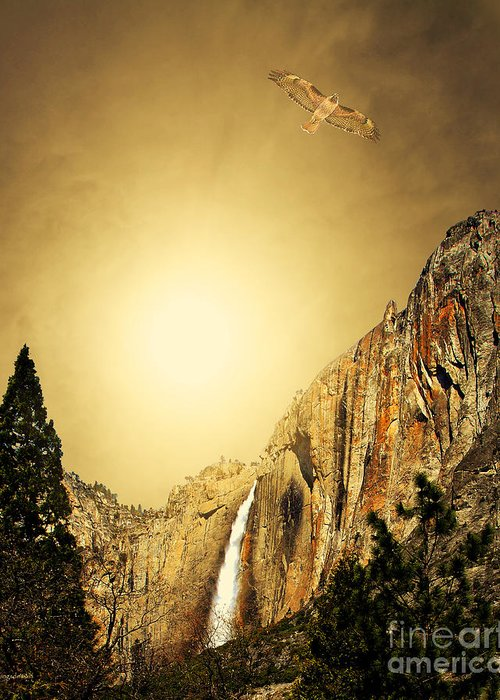Landscape Greeting Card featuring the photograph Free To Soar The Boundless Sky . Portrait Cut by Wingsdomain Art and Photography