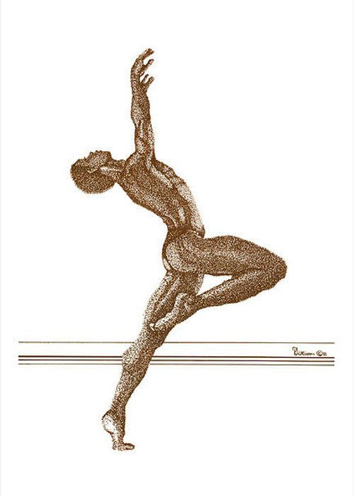 Dancer Greeting Card featuring the drawing Freedom Dance by Leonard R Wilkinson