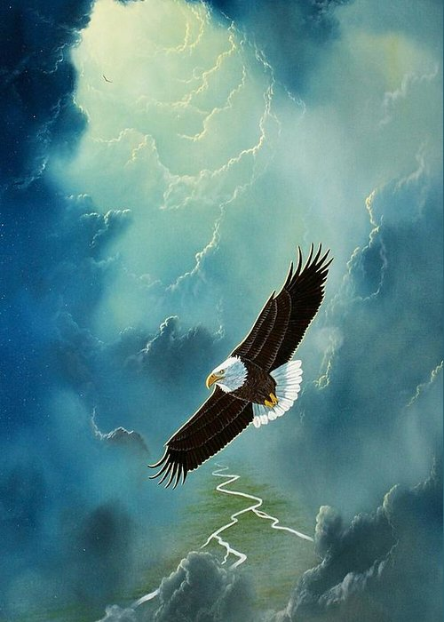 Eagle Greeting Card featuring the painting Freedom by Don Griffiths