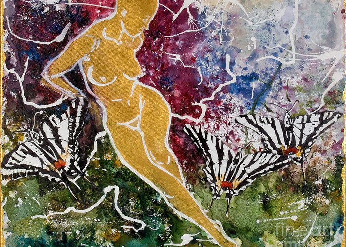 Nude Greeting Card featuring the painting Freedom by Elisabeta Hermann
