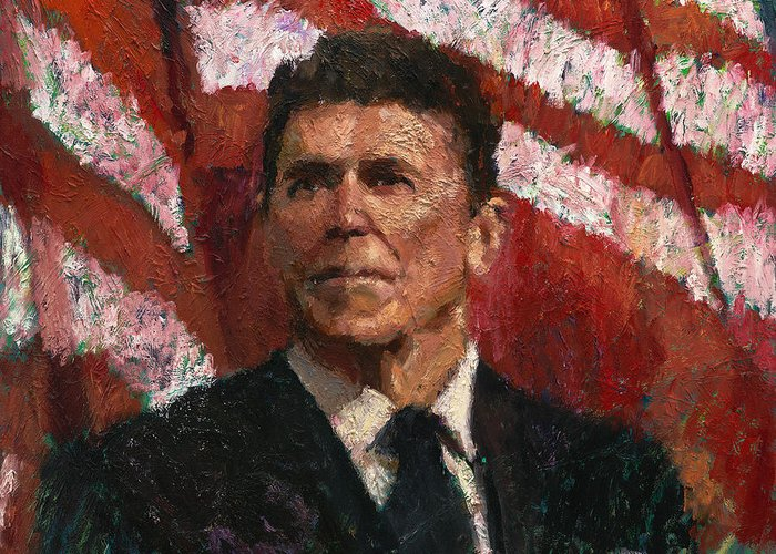 Ronald Reagan Greeting Card featuring the painting Freedom Fighter by Robert Scott
