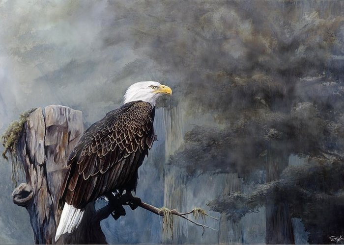 Eagle Art Greeting Card featuring the painting Freedom Haze by Steve Goad