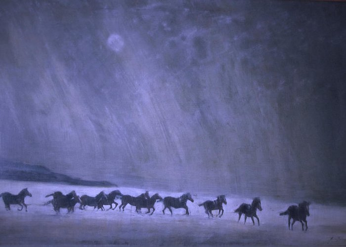 Horse Greeting Card featuring the painting Freedom by Jarmo Korhonen aka Jarko
