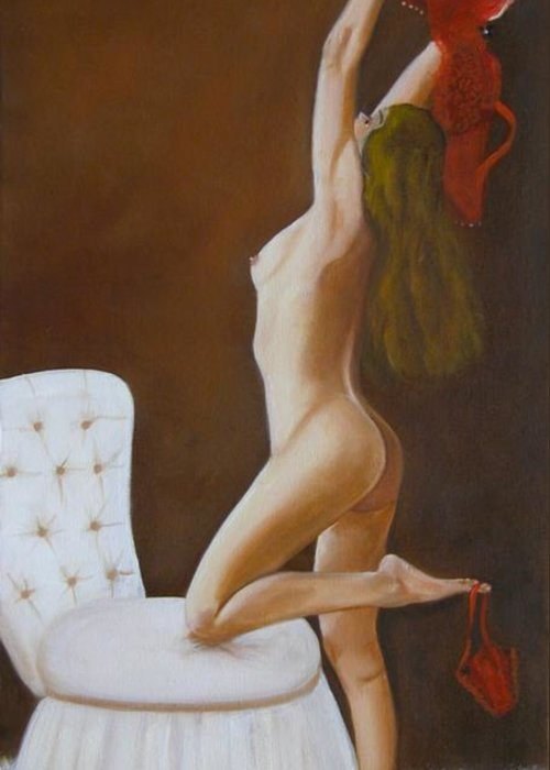 Nude Greeting Card featuring the painting Freedom by Joni McPherson