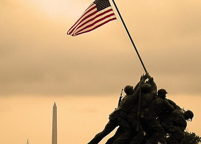 Marine Corps Memorial Greeting Card featuring the photograph Freedom by Mitch Cat