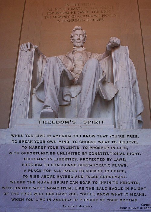 Poetry Greeting Card featuring the mixed media Freedom's Spirit by Patrick J Maloney