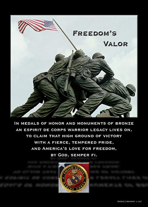 Poetry Greeting Card featuring the mixed media Freedom's Valor II by Patrick J Maloney
