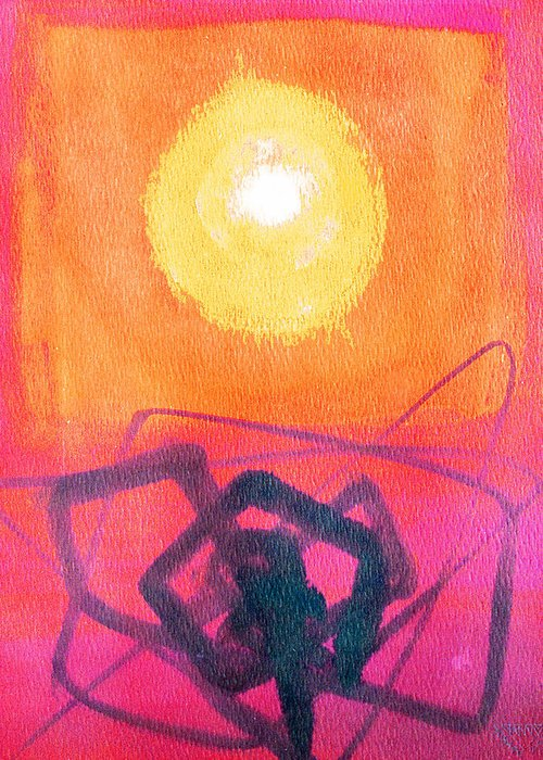Abstract Yellow Orange Red Black Brush Strokes Enlightened Emotions Free Greeting Card featuring the painting Freeing The Tangled Mind by Jennifer Baird
