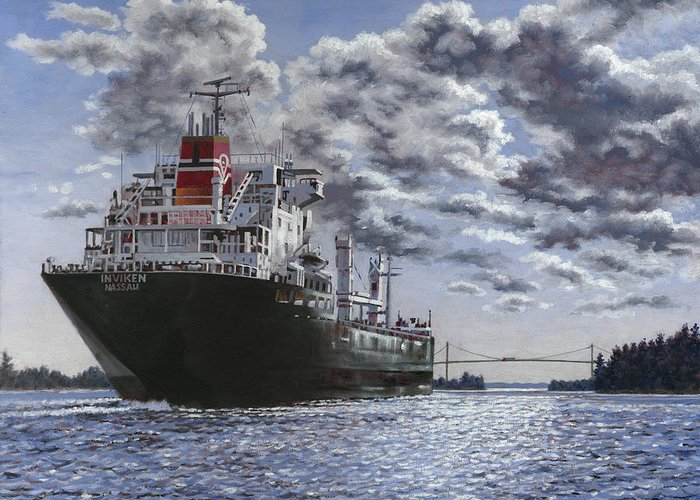 Freighter Greeting Card featuring the painting Freighter Inviken by Richard De Wolfe