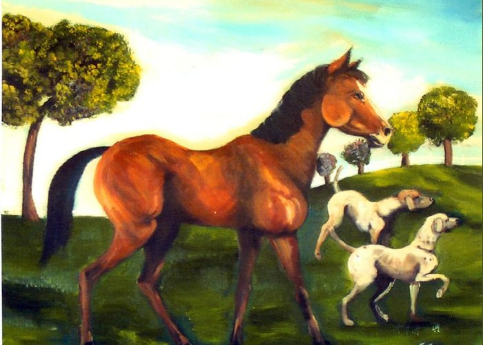 Horse And Dogs Greeting Card featuring the painting Freinds by Leslie Spurlock