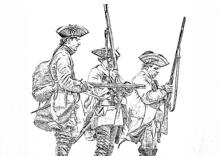 French And Indian War British Soldiers Sketch Greeting