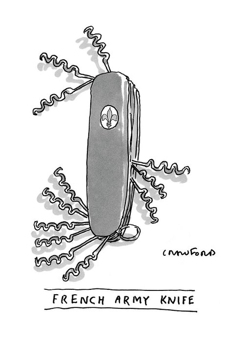 Swiss Army Knife Greeting Card featuring the drawing French Army Knife by Michael Crawford