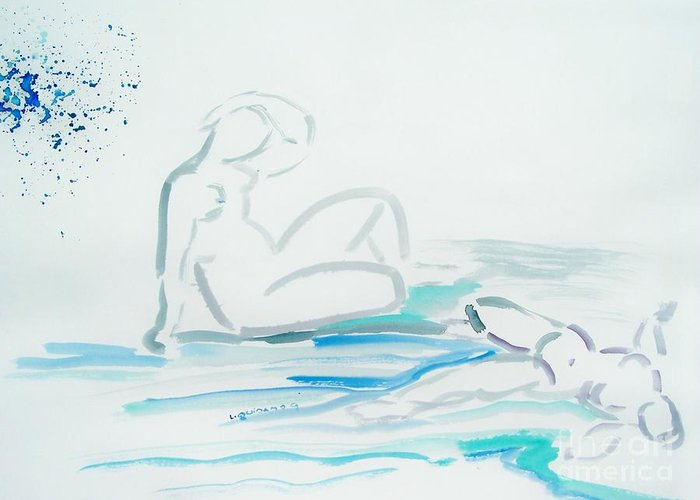 Nude Greeting Card featuring the drawing French Bathers by Geraldine Liquidano
