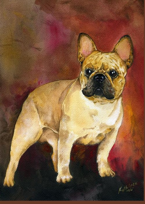 French Bulldog Greeting Card featuring the painting French Bulldog by Kathleen Sepulveda