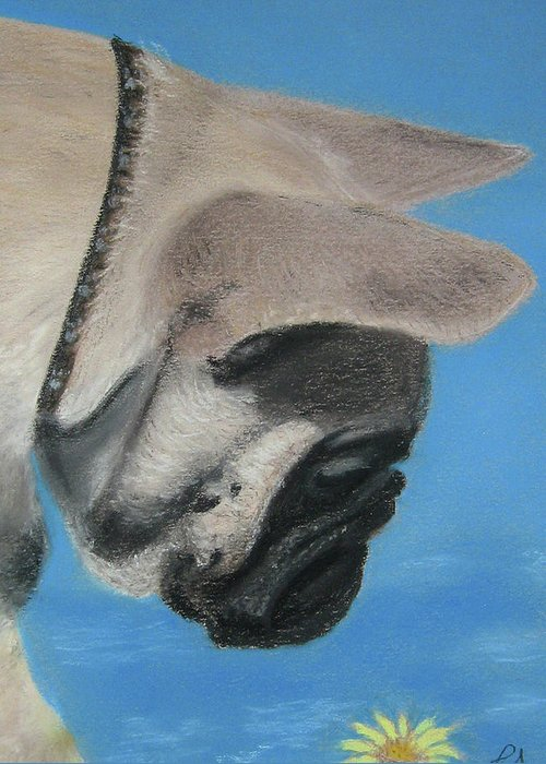 French Greeting Card featuring the pastel French Bulldog by Louise Andersen