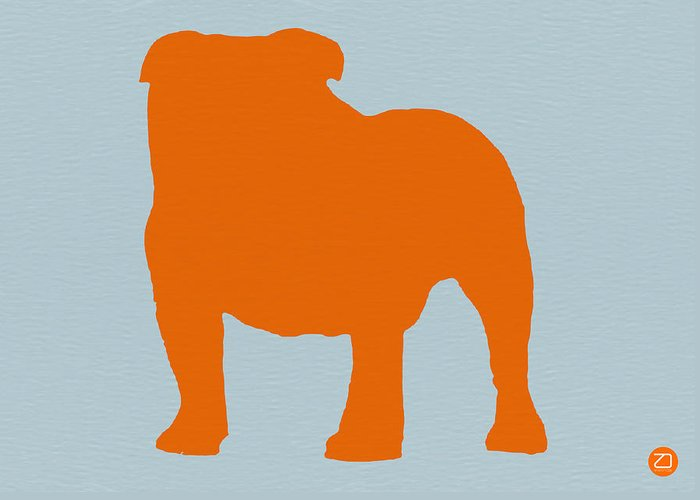 French Bulldog Greeting Card featuring the digital art French Bulldog Orange by Naxart Studio