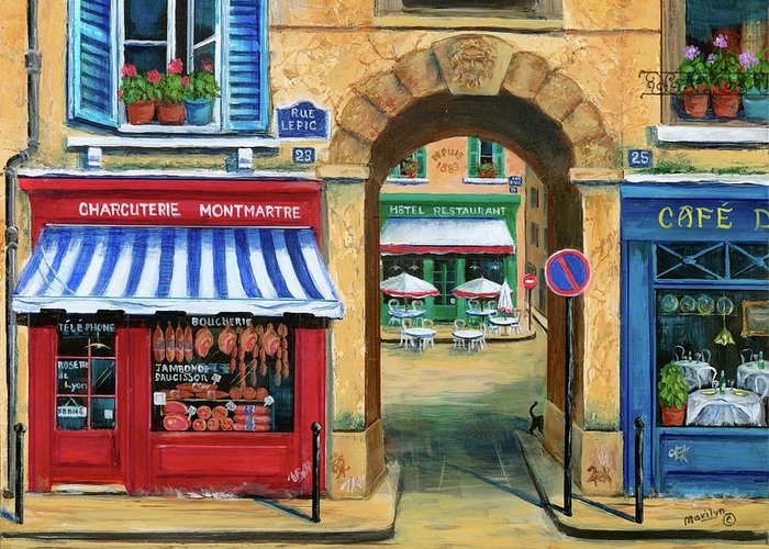 Paris Greeting Card featuring the painting French Butcher Shop by Marilyn Dunlap
