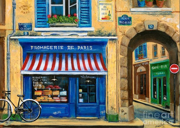 Paris Greeting Card featuring the painting French Cheese Shop by Marilyn Dunlap
