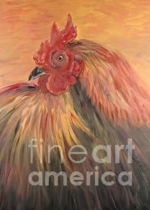 Rooster Greeting Card featuring the painting French Country Rooster by Nadine Rippelmeyer