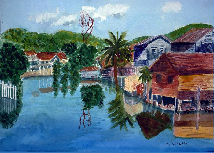 French Harbo Greeting Card featuring the painting French Harbor Isla De Roatan by Donna Walsh