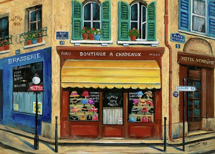 Paris Greeting Card featuring the painting French Hats And Purses Boutique by Marilyn Dunlap