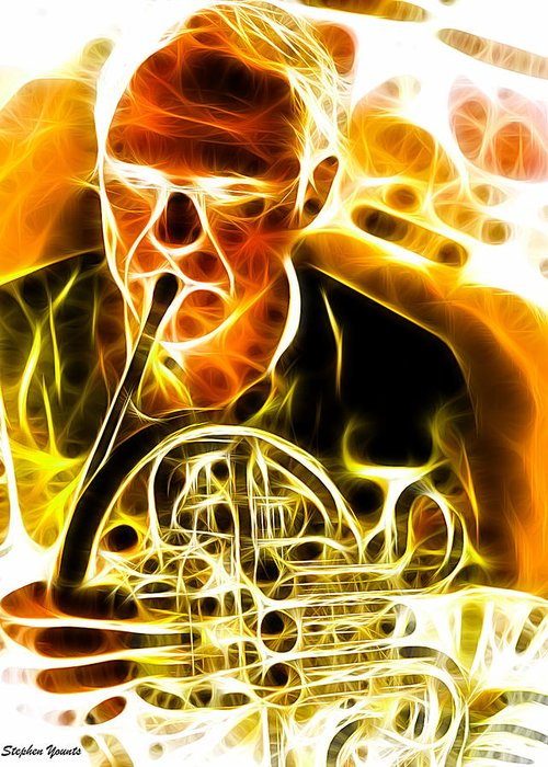 French Horn Greeting Card featuring the digital art French Horn by Stephen Younts