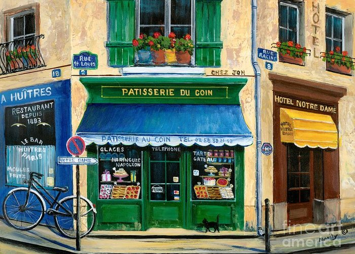 Paris Greeting Card featuring the painting French Pastry Shop by Marilyn Dunlap
