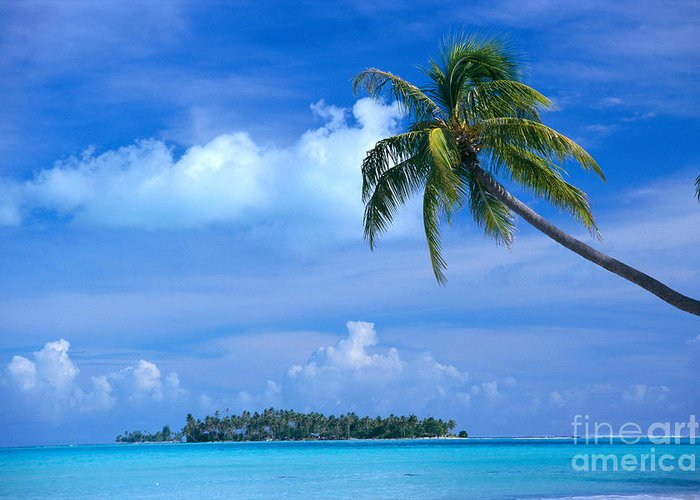 Blue Greeting Card featuring the photograph French Polynesia, Bora Bo by Himani - Printscapes