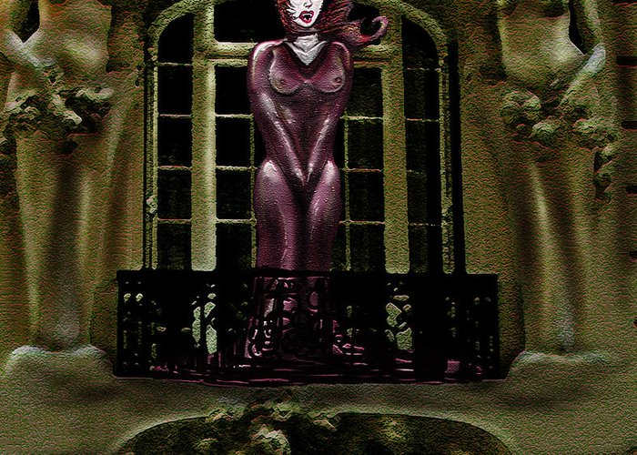 Vampires Greeting Card featuring the digital art French Quarter Vamp by Kim Souza