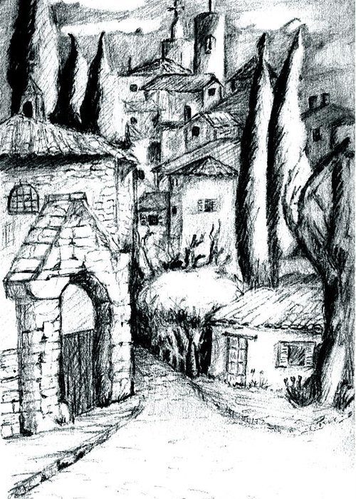French Village Greeting Card featuring the drawing French Village by Dan Earle