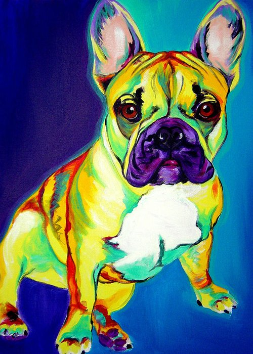 Dog Greeting Card featuring the painting Frenchie - Tugboat by Alicia VanNoy Call