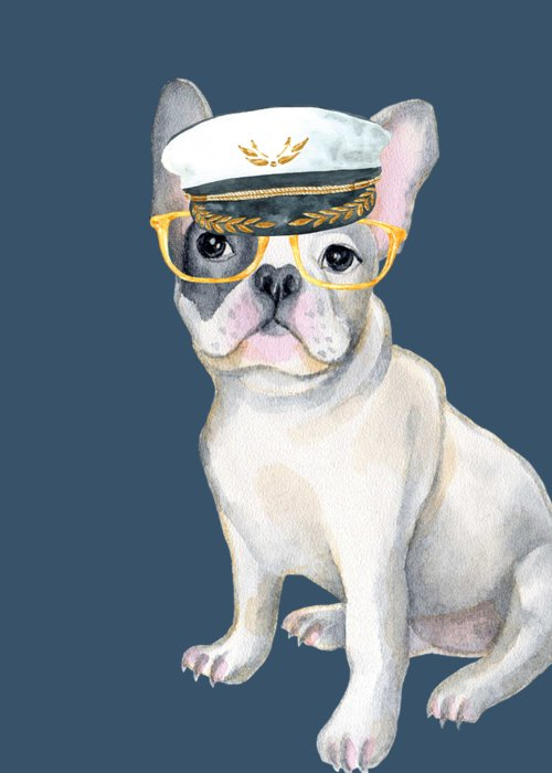 Dog Greeting Card featuring the digital art Frenchie French Bulldog Yellow Glasses Captains Hat Dogs In Clothes by Trisha Vroom
