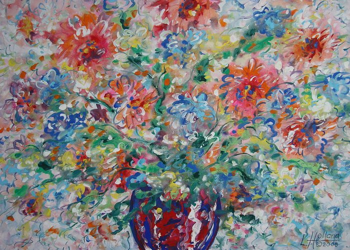 Flowers Greeting Card featuring the painting Fresh Bouquet by Leonard Holland